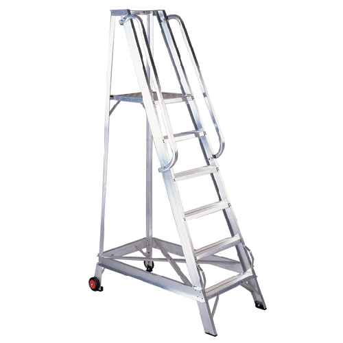 6 TREAD ALUMINIUM WAREHOUSE STEP LADDER WITH PLATFORM