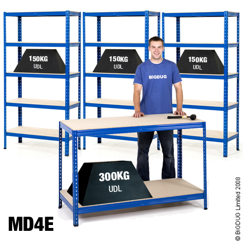 3 Bays of Racking / Shelving for Shed / Garage / Workshop & 1Bench / Workstation
