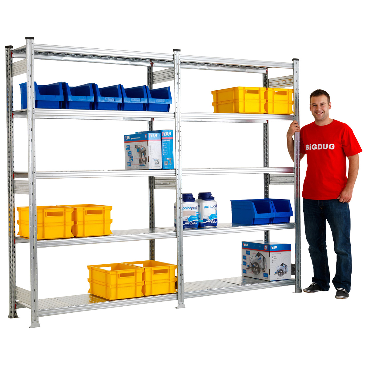 2025mm high Galvanised Shelving and Racking Storage System - 5 levels