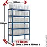 View Item Shelving With 15 Plastic Boxes