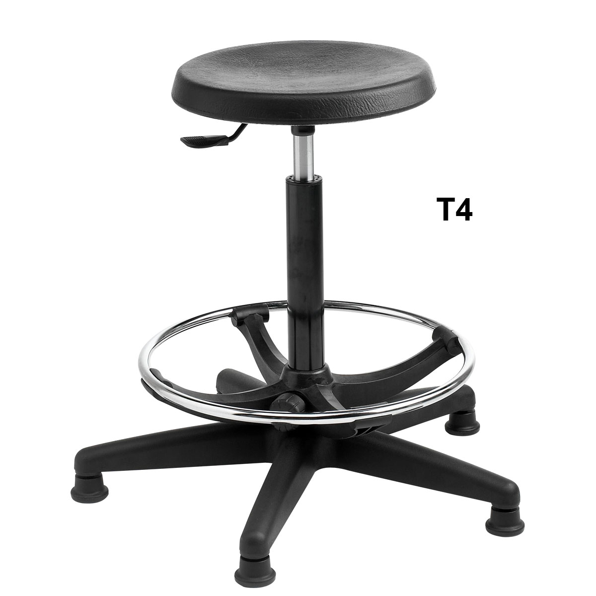 Black Polyurethane Stool. Stool With Footring. Seat Height 550-800mm