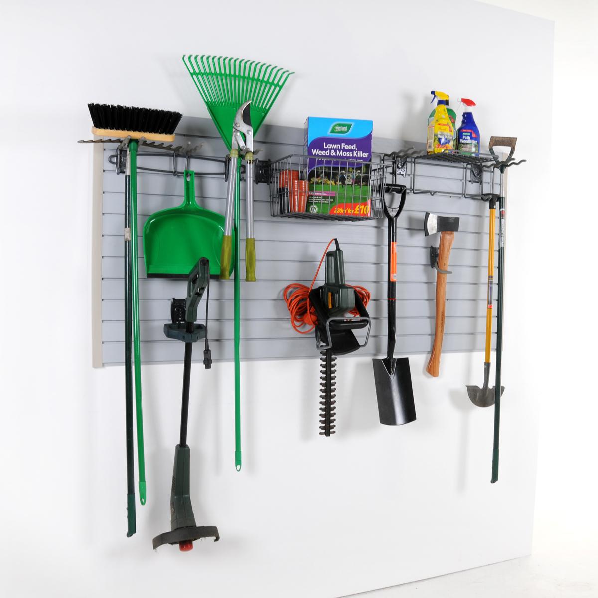 Wall Storage Garden Kit Slatwall Hooks Home Garage Ebay