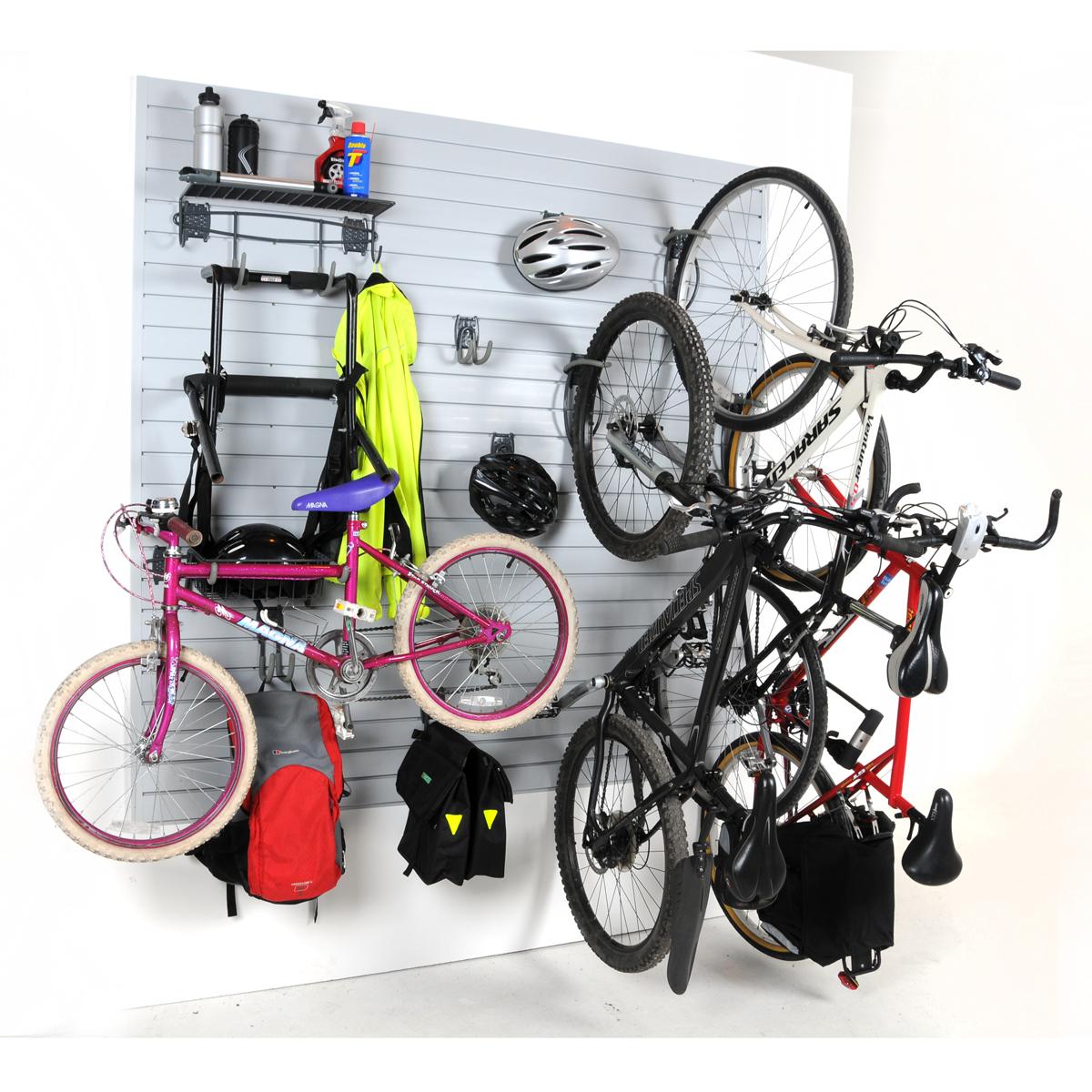 Wall Storage Bike Kit Slatwall Hooks Home Garage Ebay