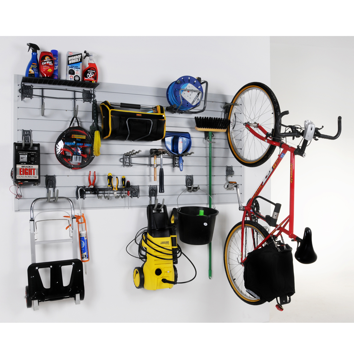 Wall Storage Garage Kit Slatwall Hooks Home Ebay