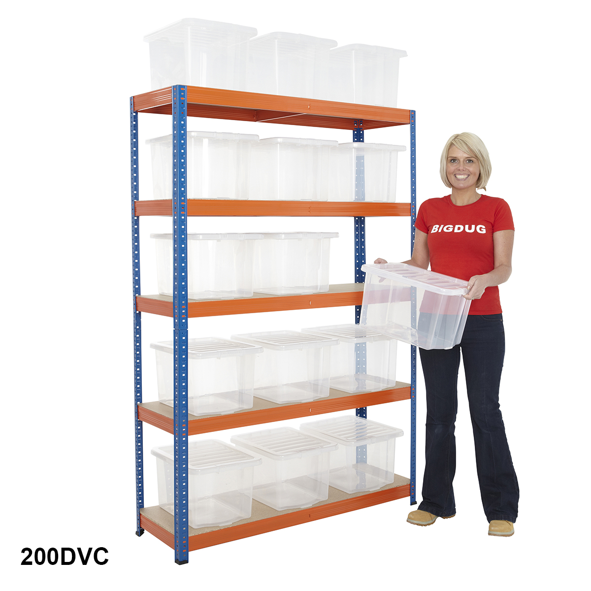 200kgs Boltless Shelving c/w 15 Clear Storage Boxes