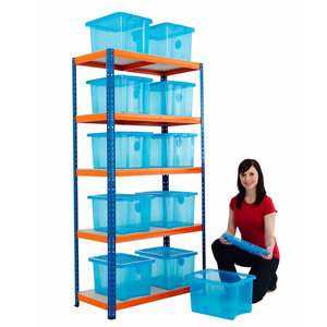 Boltless shelving bay with 15 clear boxes Preview