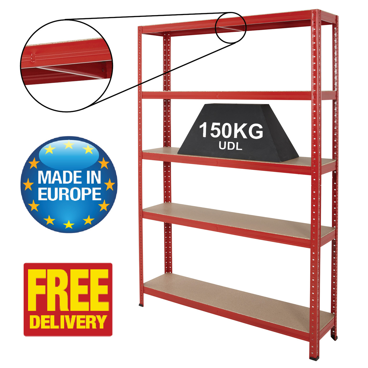 Boltless Garage Shed Storage Shelving Racking System 1780mm High 5 Levels