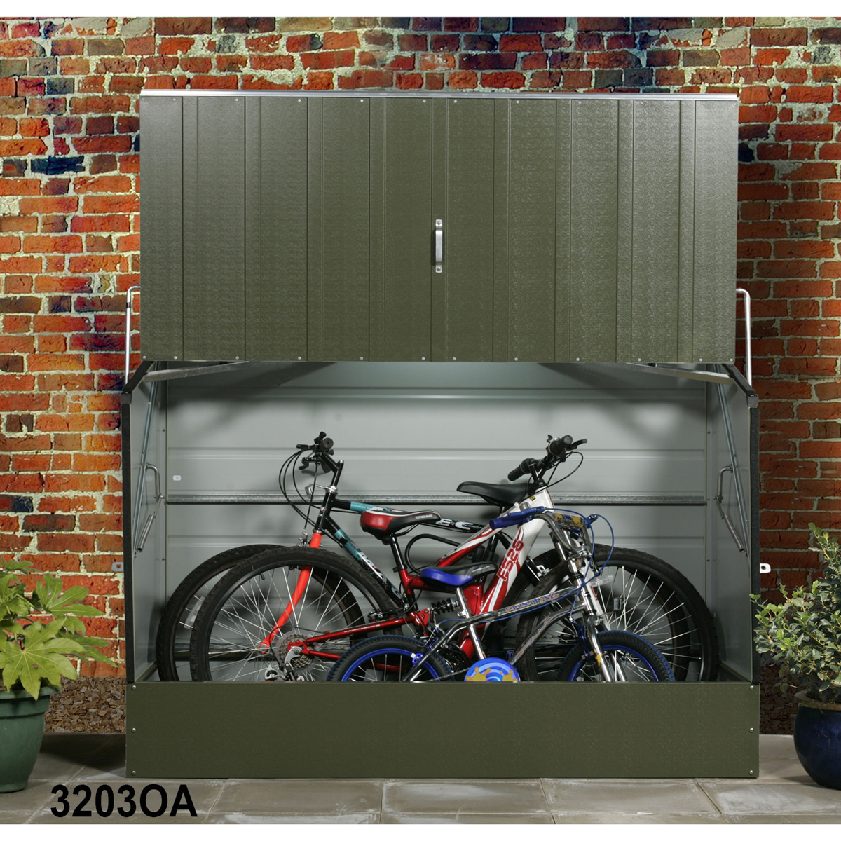 olive steel bicycle shed 1330h x 1960w x 890d mm ebay. Black Bedroom Furniture Sets. Home Design Ideas