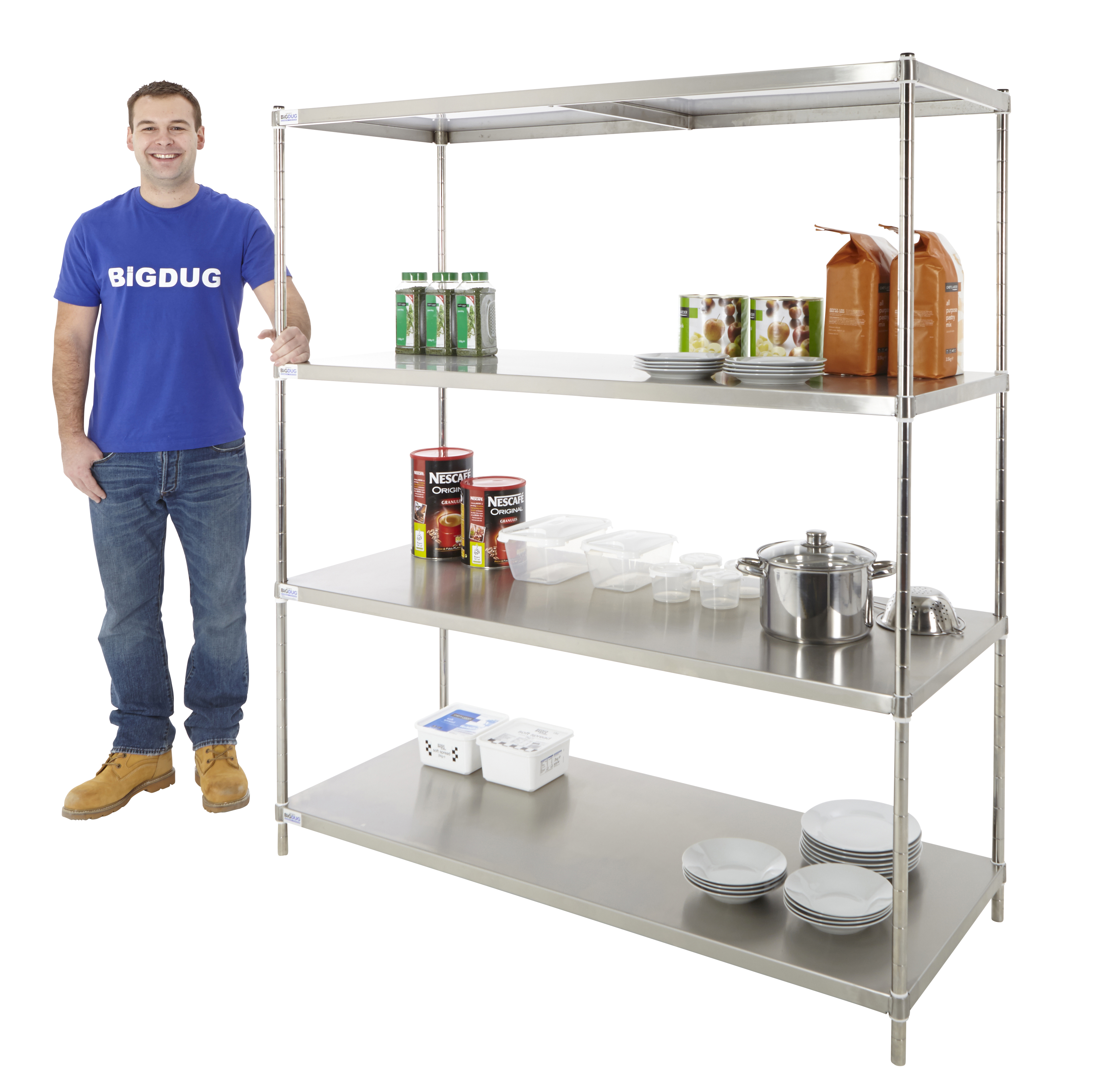 Hygiene Shelving Steel Solid Racking 1700mm Commercial Kitchen Catering