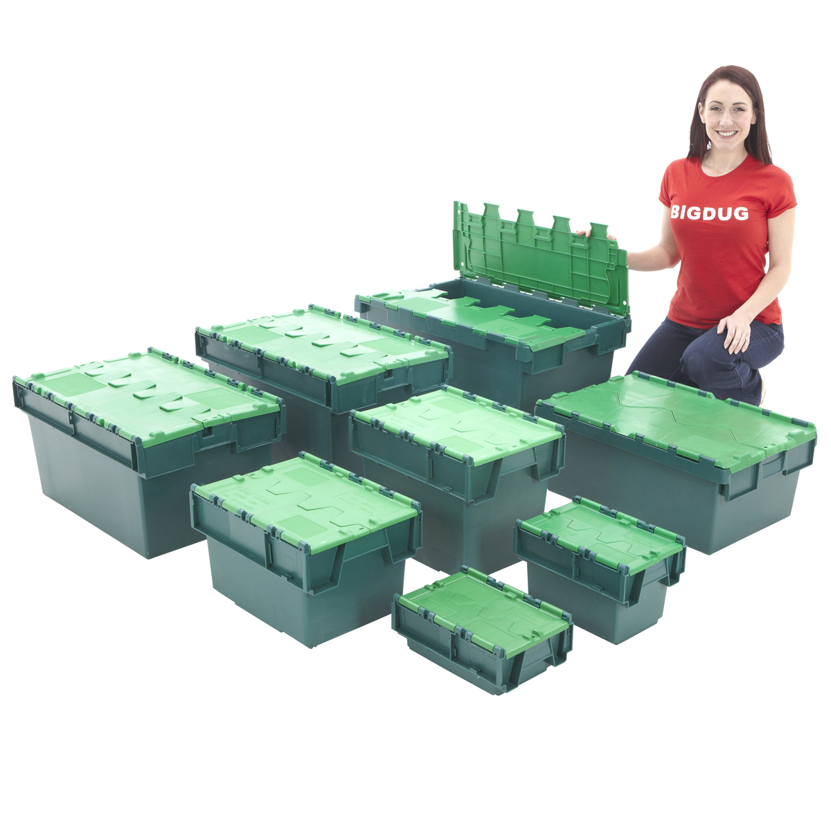 Attached Lid Containers Plastic Storage Stackable