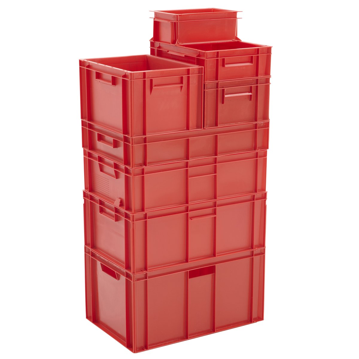 Red Euro Stackable Storage Containers Plastic