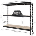 View Item 3 x Heavy Duty Racking Bays 1860h x 2000w x 600d mm 300kg UDL Black