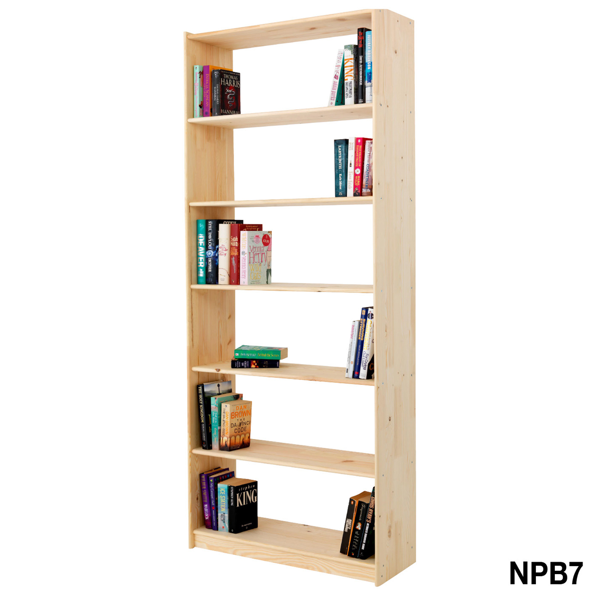 Natural Pine 7 Level Wooden Bookcase 1921hx800wx300d
