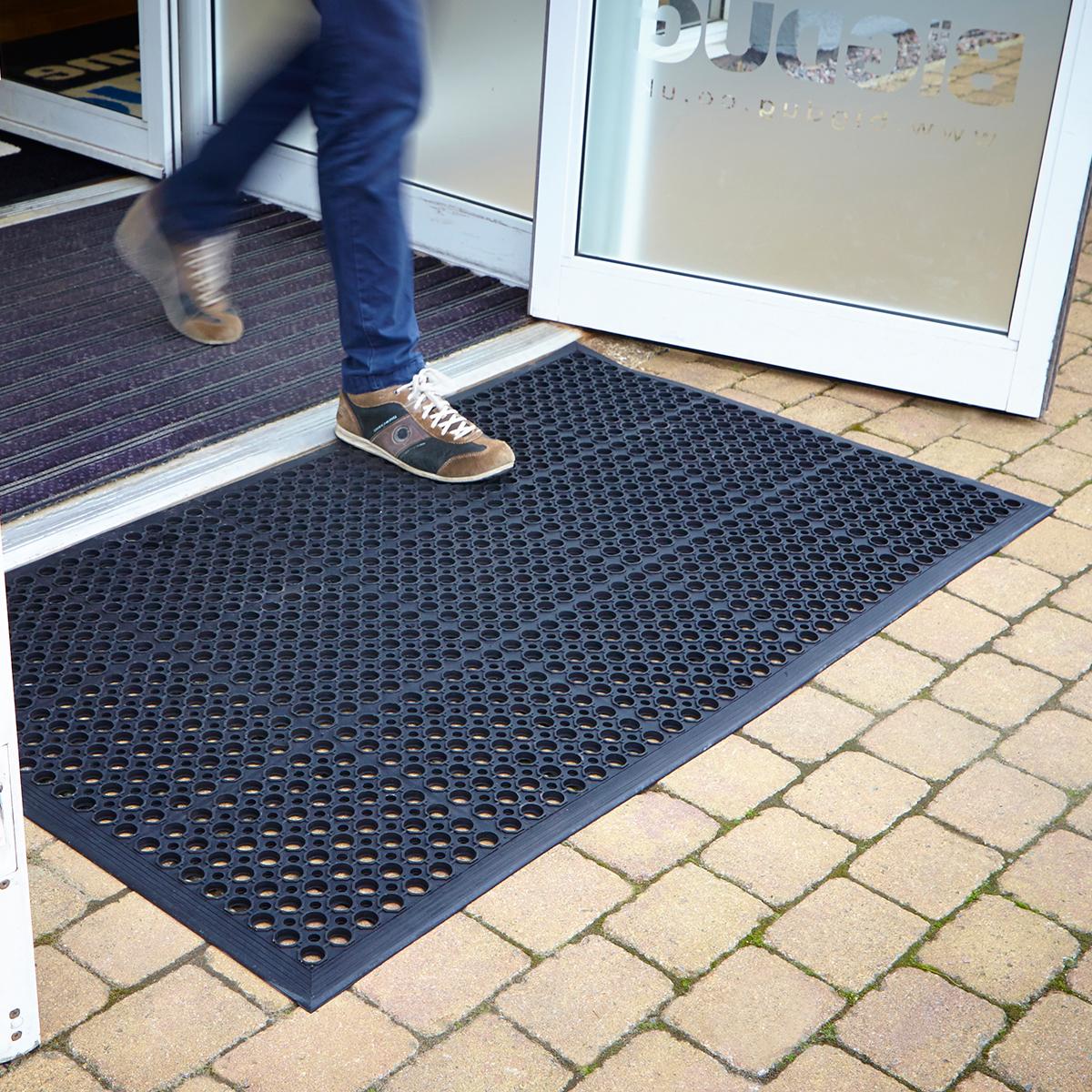 Large rubber heavy duty entrance door doormat floor mat for Outdoor doormats