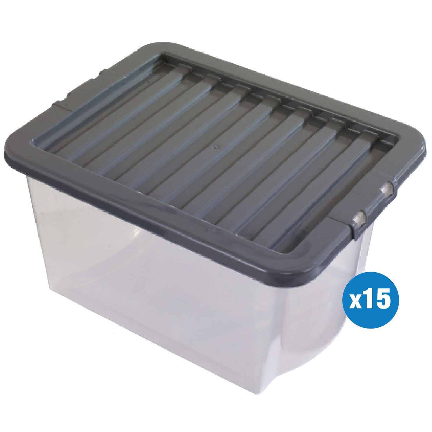 NO RESERVE 15 x Clear 30 Litre Plastic Box With Lid Boxes Storage Container Wham