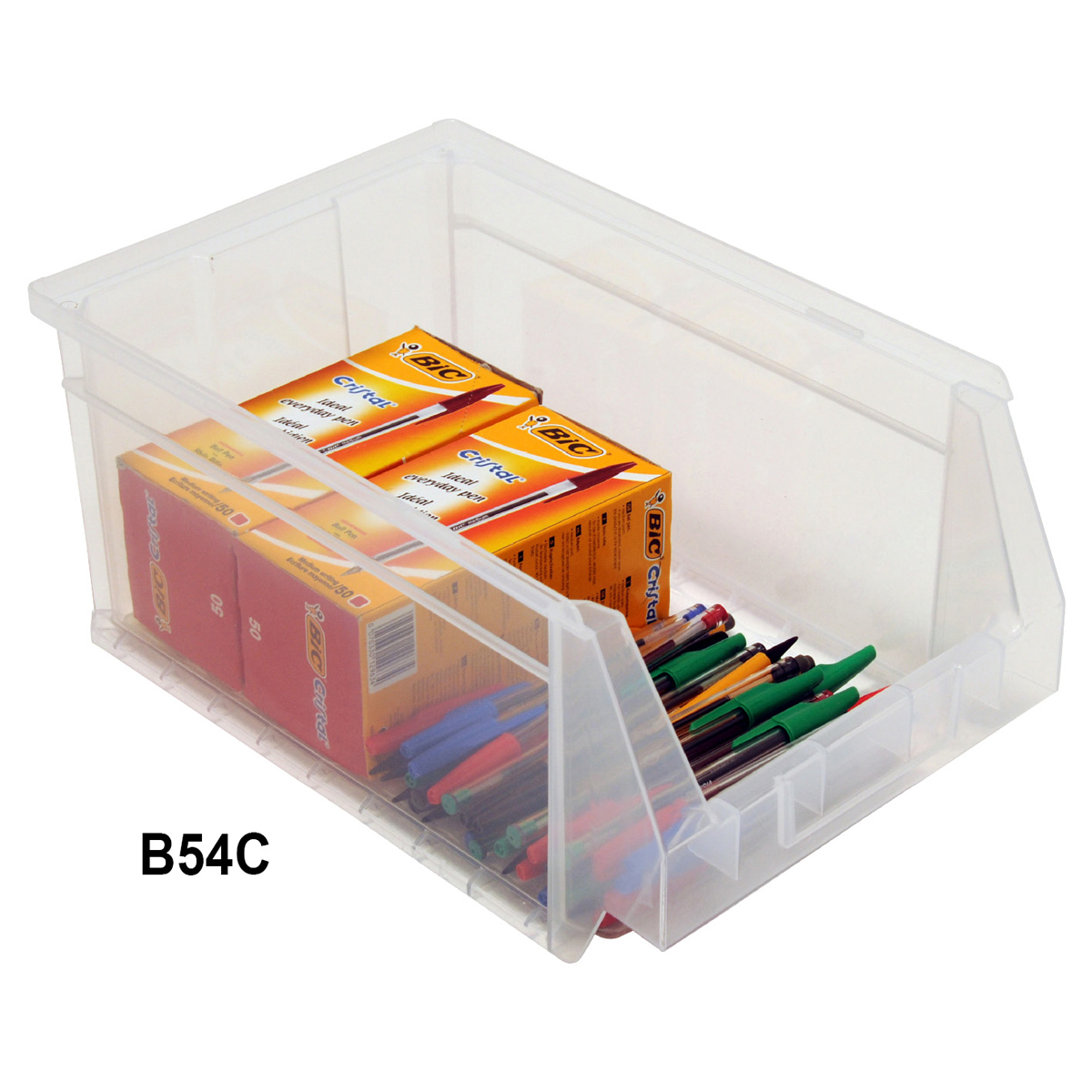 View Item Pack of 12 Premium Clear Bins 155mm High x 216mm Wide x 336mm Deep