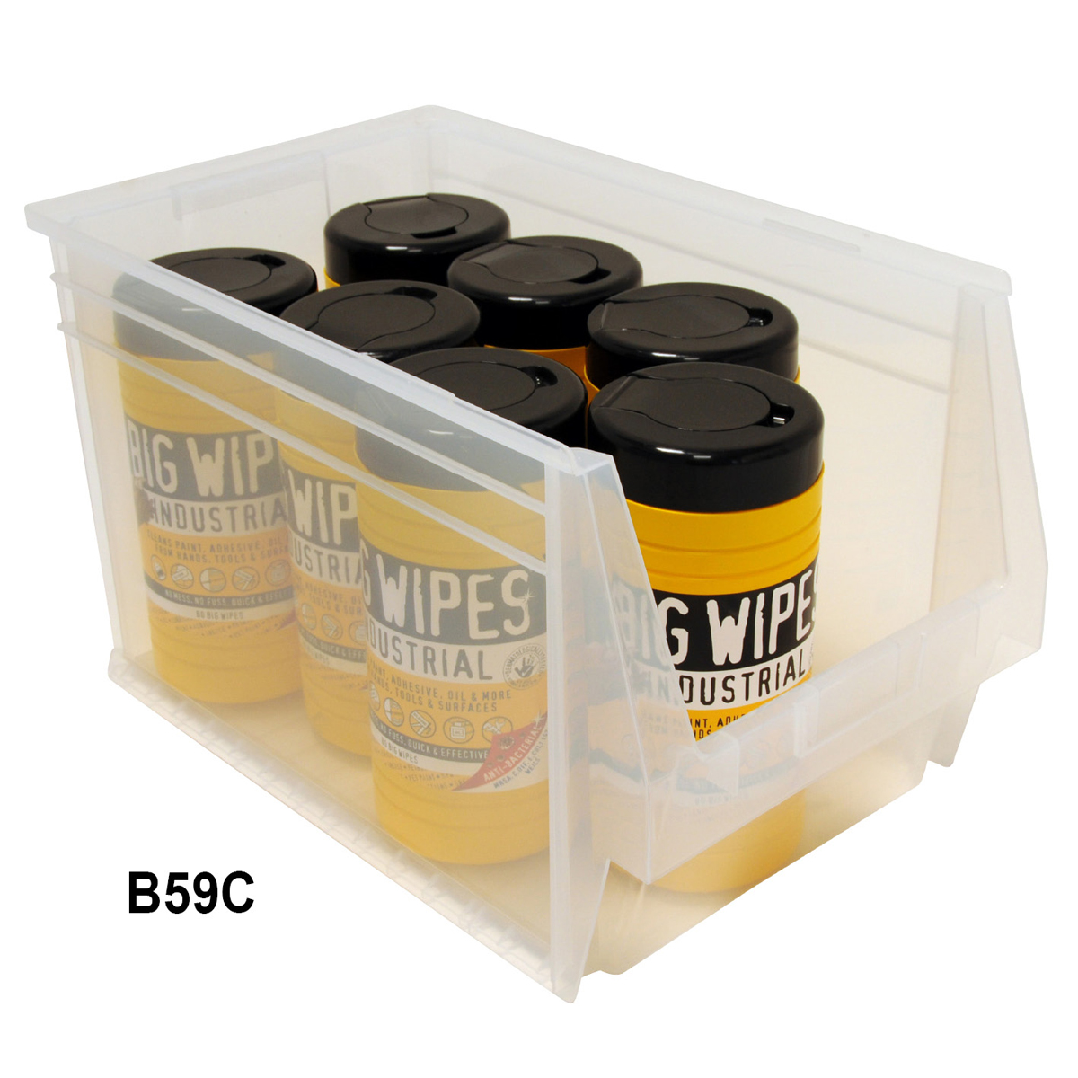 View Item Pack of 6 Premium Clear Bins 300mm High x 303mm Wide x 500mm Deep
