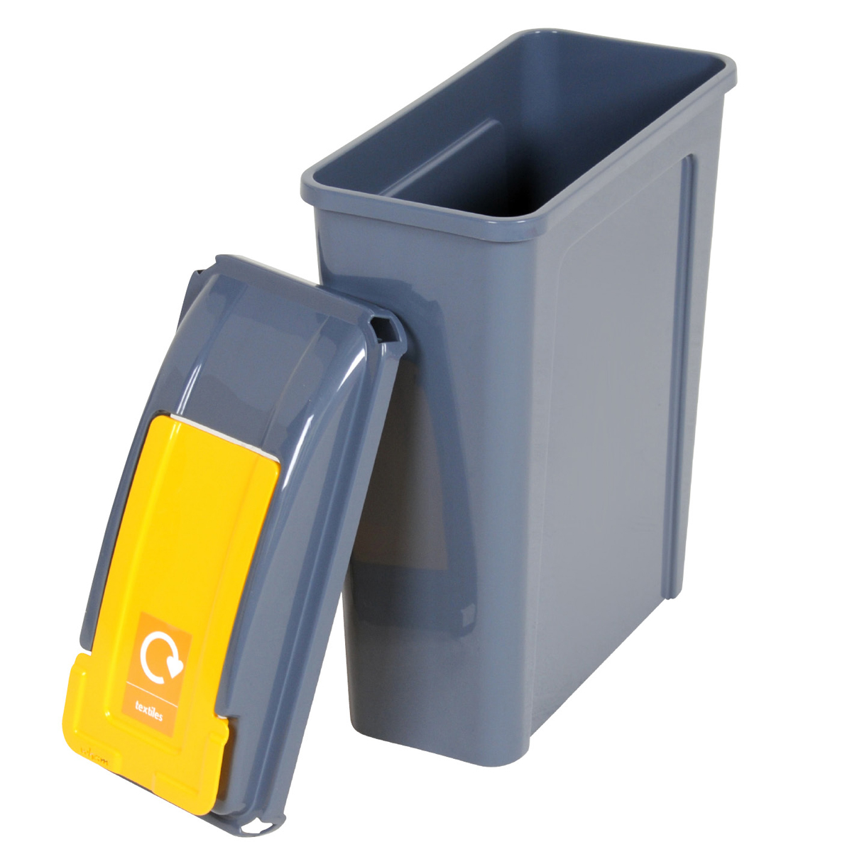 25 L Compartment Recycling Recycle Bin Yellow Flip Lid | eBay