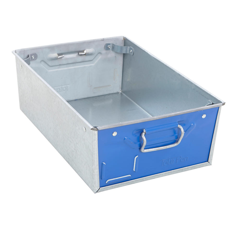 Galvanised Steel Tote Pans With Blue Ends