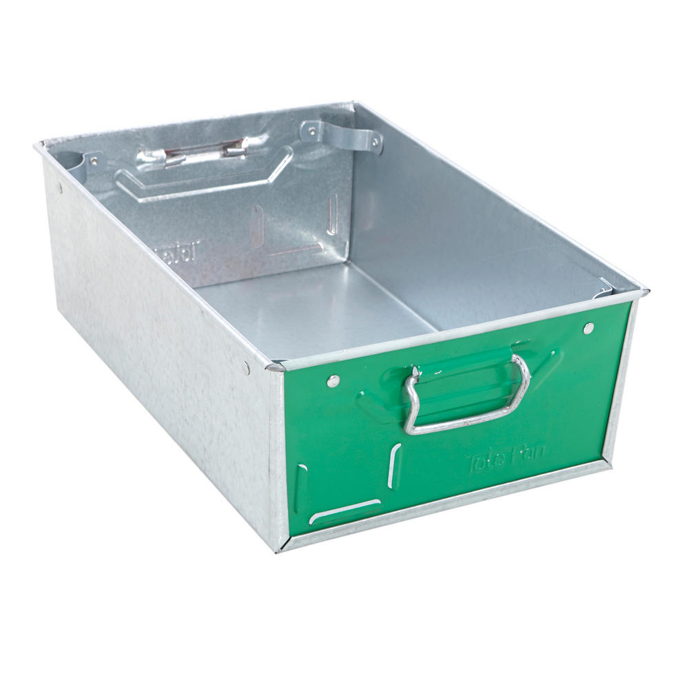 Galvanised Steel Tote Pans With Green Ends