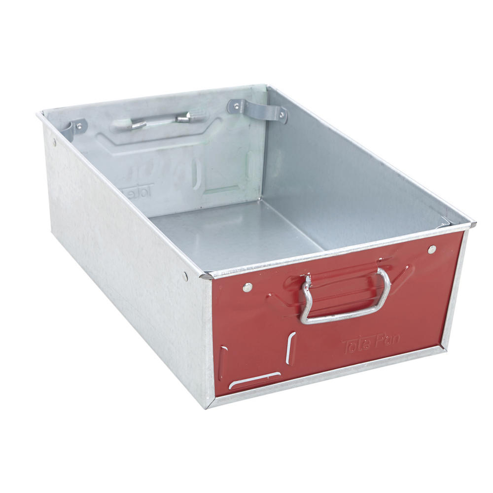 Galvanised Steel Tote Pans With Red Ends