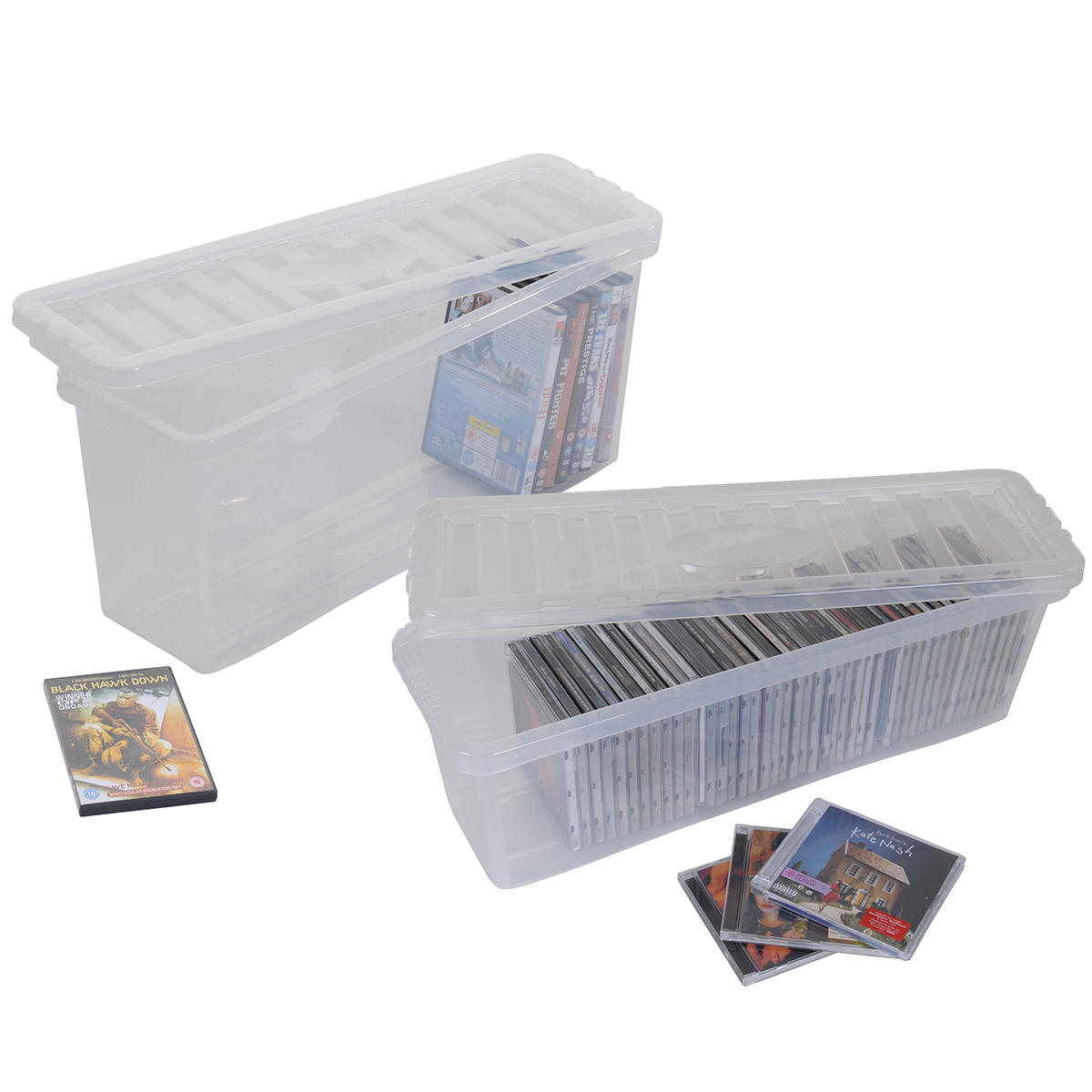 plastic cd dvd storage boxes box clear storage containers hold 52 cds 36 dvds ebay. Black Bedroom Furniture Sets. Home Design Ideas