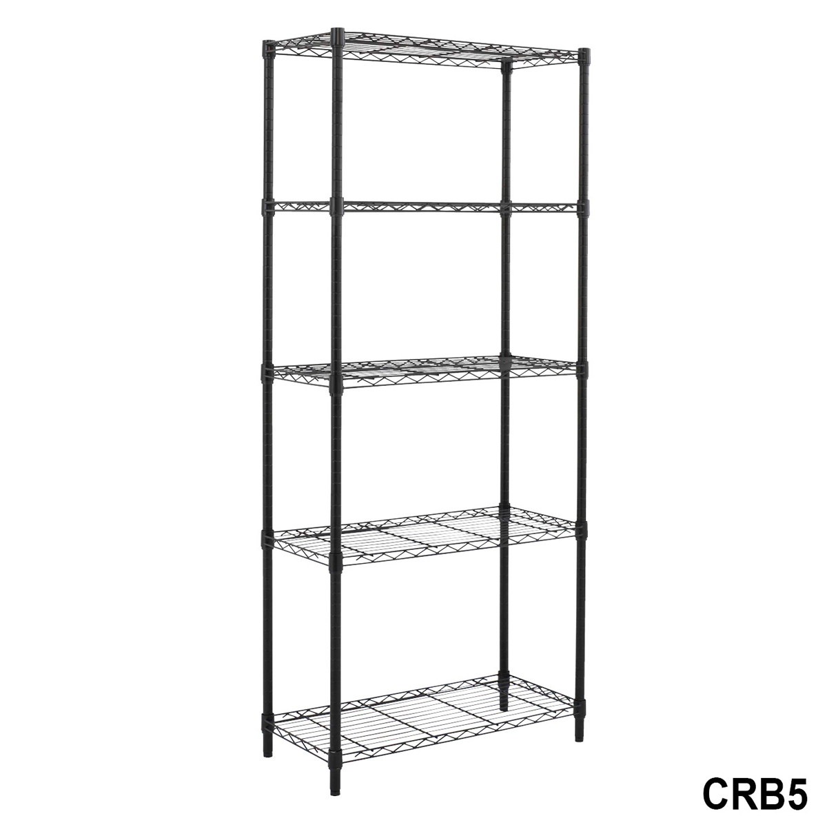Black Wire Bay 5 Shelf Light Duty 1740h X 750w X 350d Shelving Unit