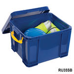 View Item Really Useful 35 Litre Storage Box Blue With Lid