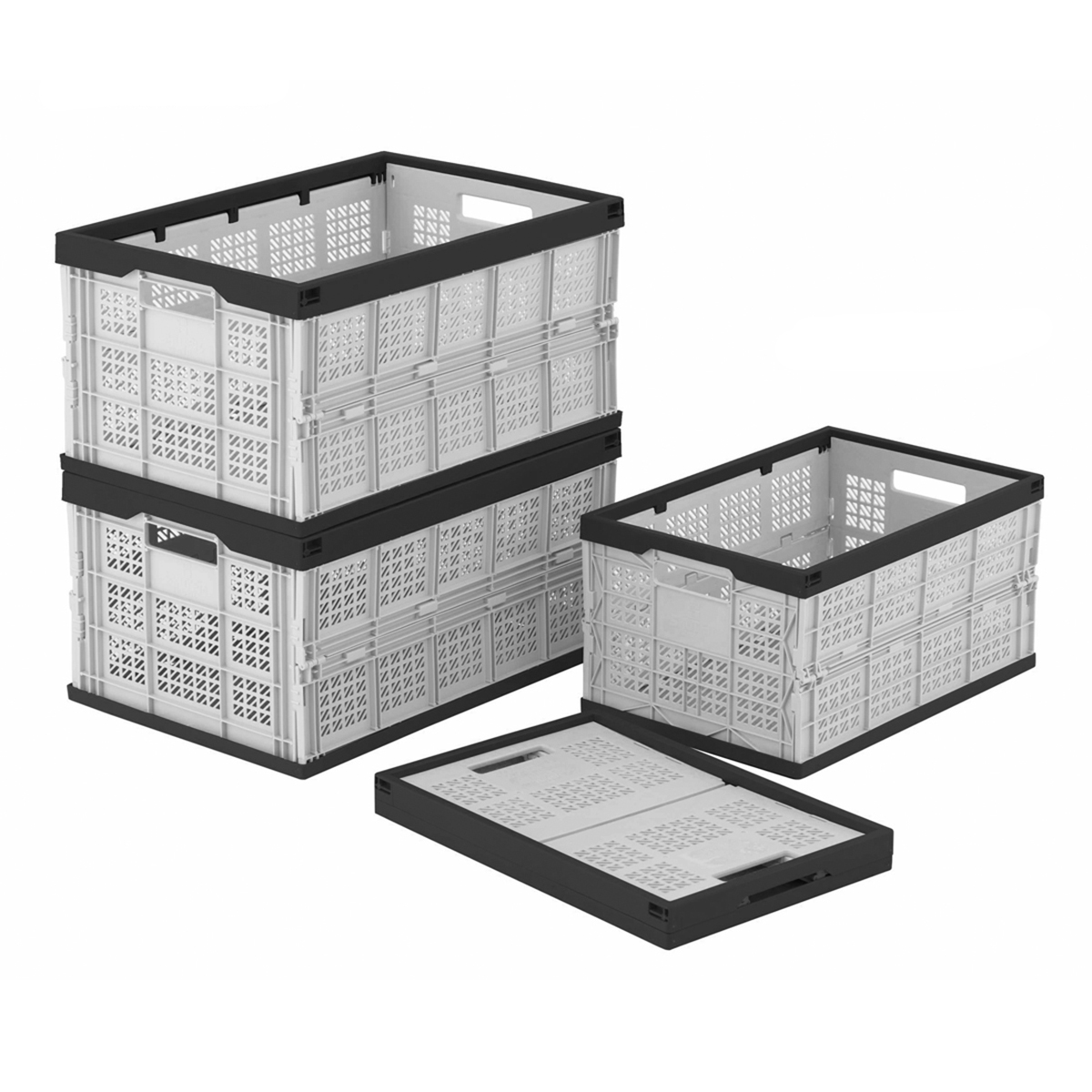 folding storage crates boxes 2 sizes foldable stack box. Black Bedroom Furniture Sets. Home Design Ideas