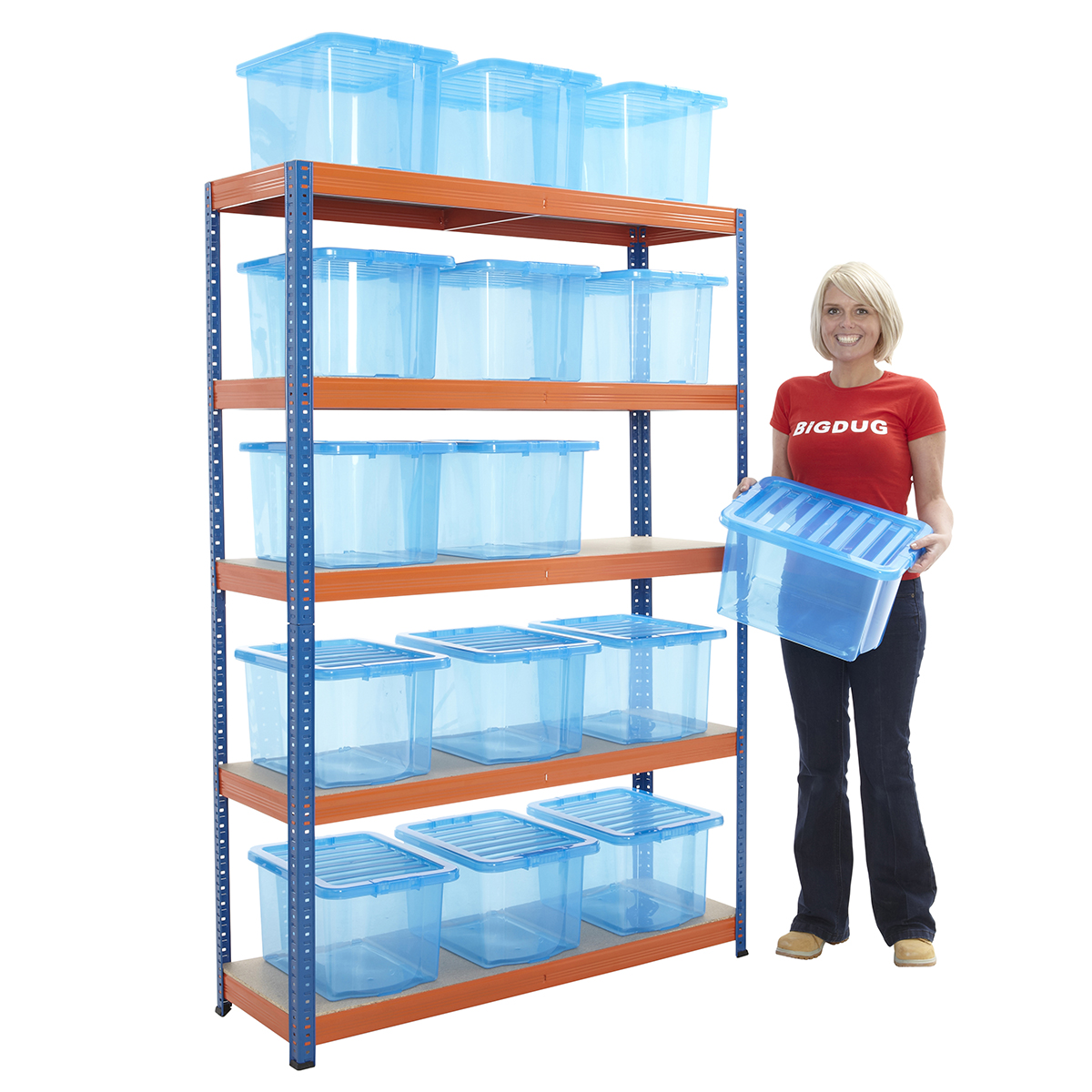 boltless shelving racking with 15 storage boxes organise. Black Bedroom Furniture Sets. Home Design Ideas