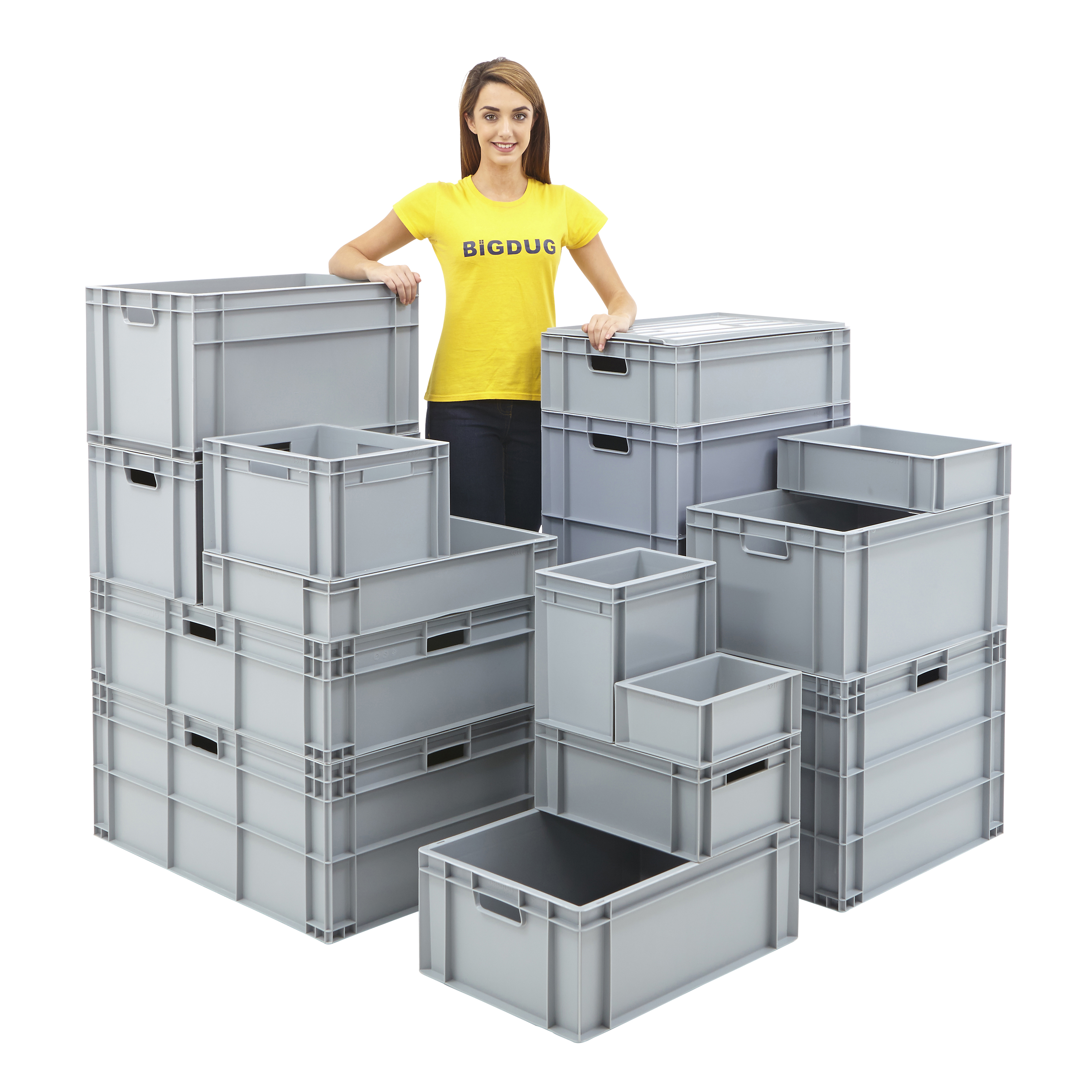 euro storage containers stackable plastic crate boxes. Black Bedroom Furniture Sets. Home Design Ideas
