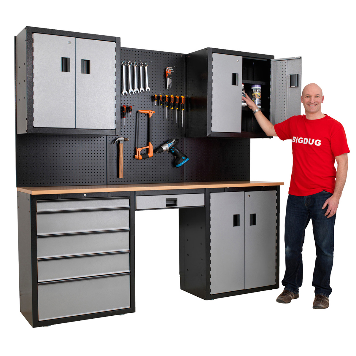 Garage Storage Kit System Cupboard Workbench Drawers Tools