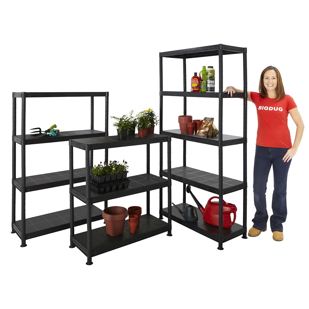 Plastic shelves storage shelf shelving garden garage shed for Garden shed shelving