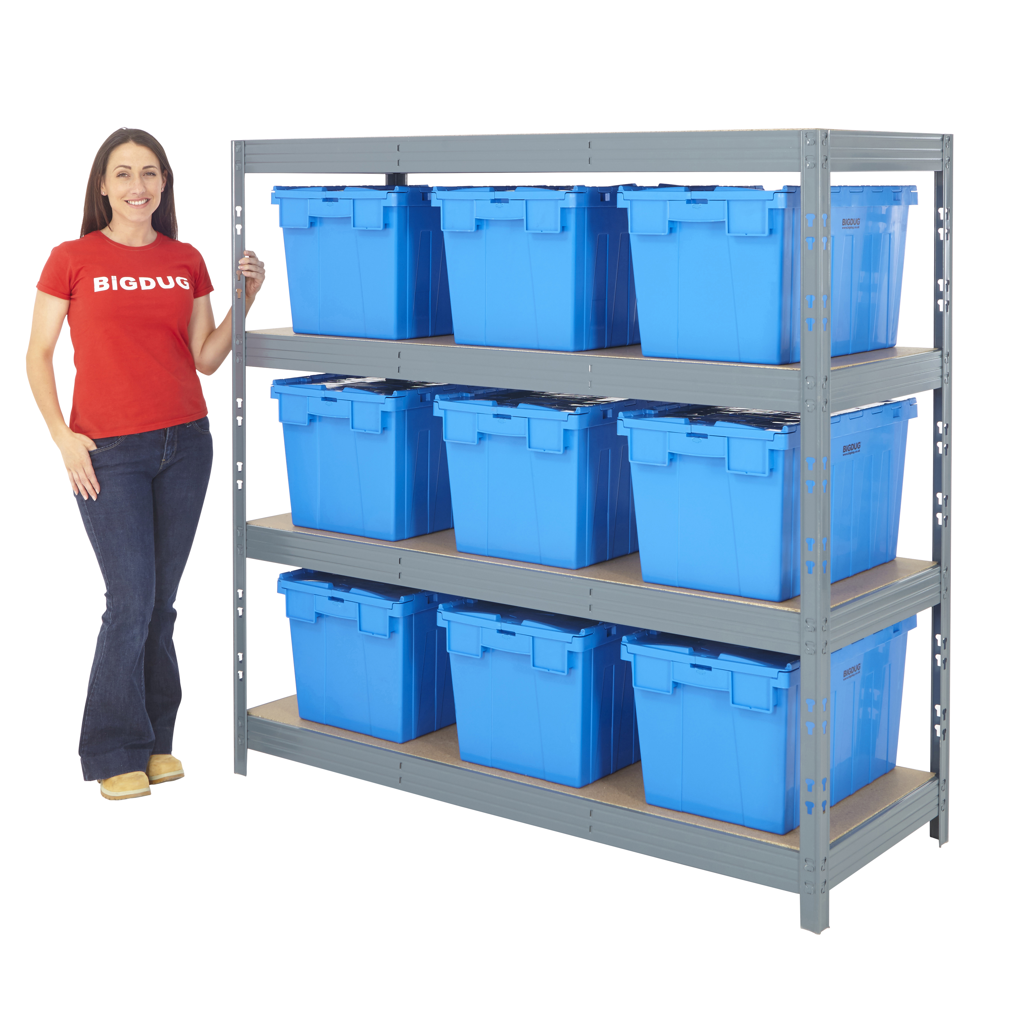 garage shelving with boxes kits 4 level bay storage pick