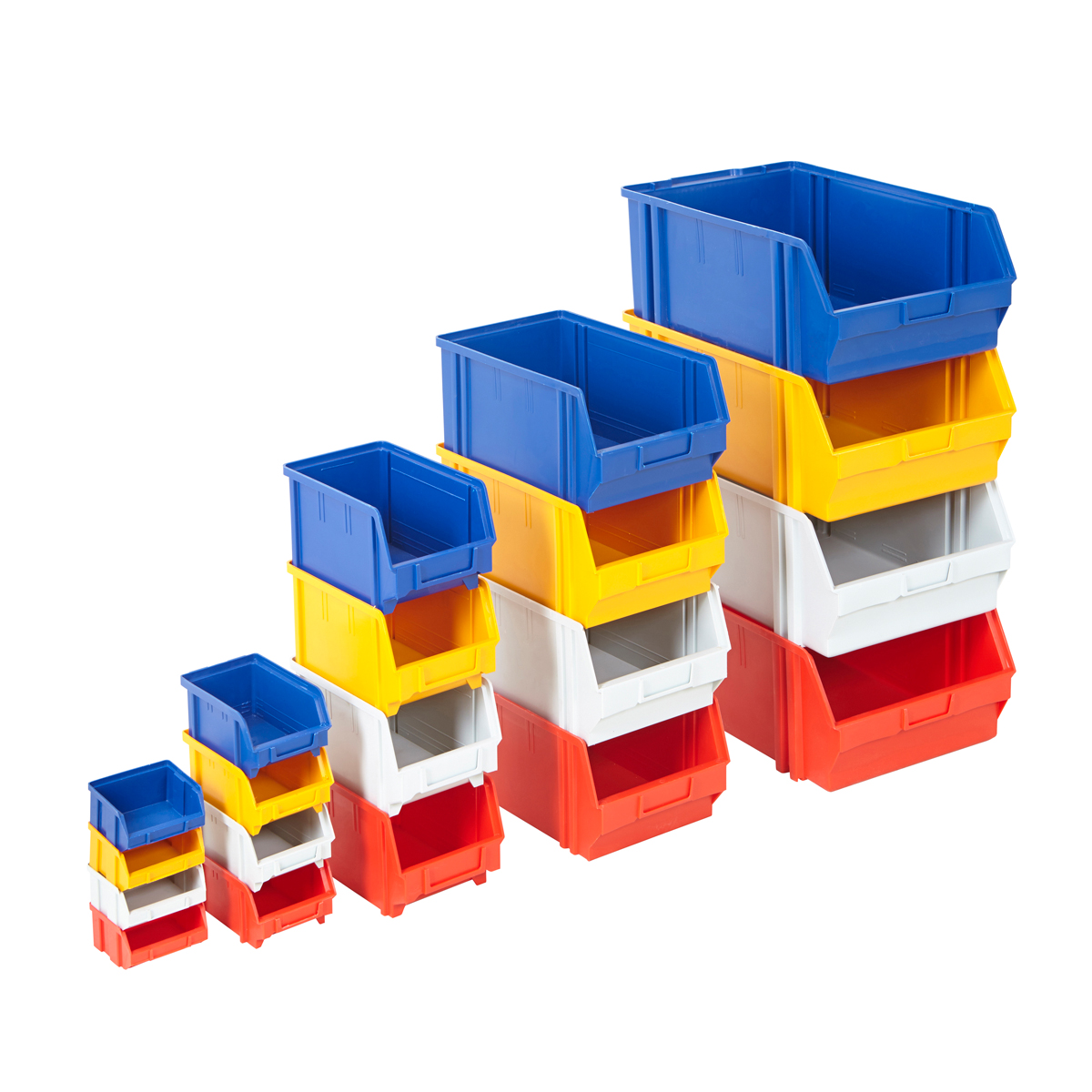 Plastic Parts Bins Assorted Colours Storage Garage Boxes