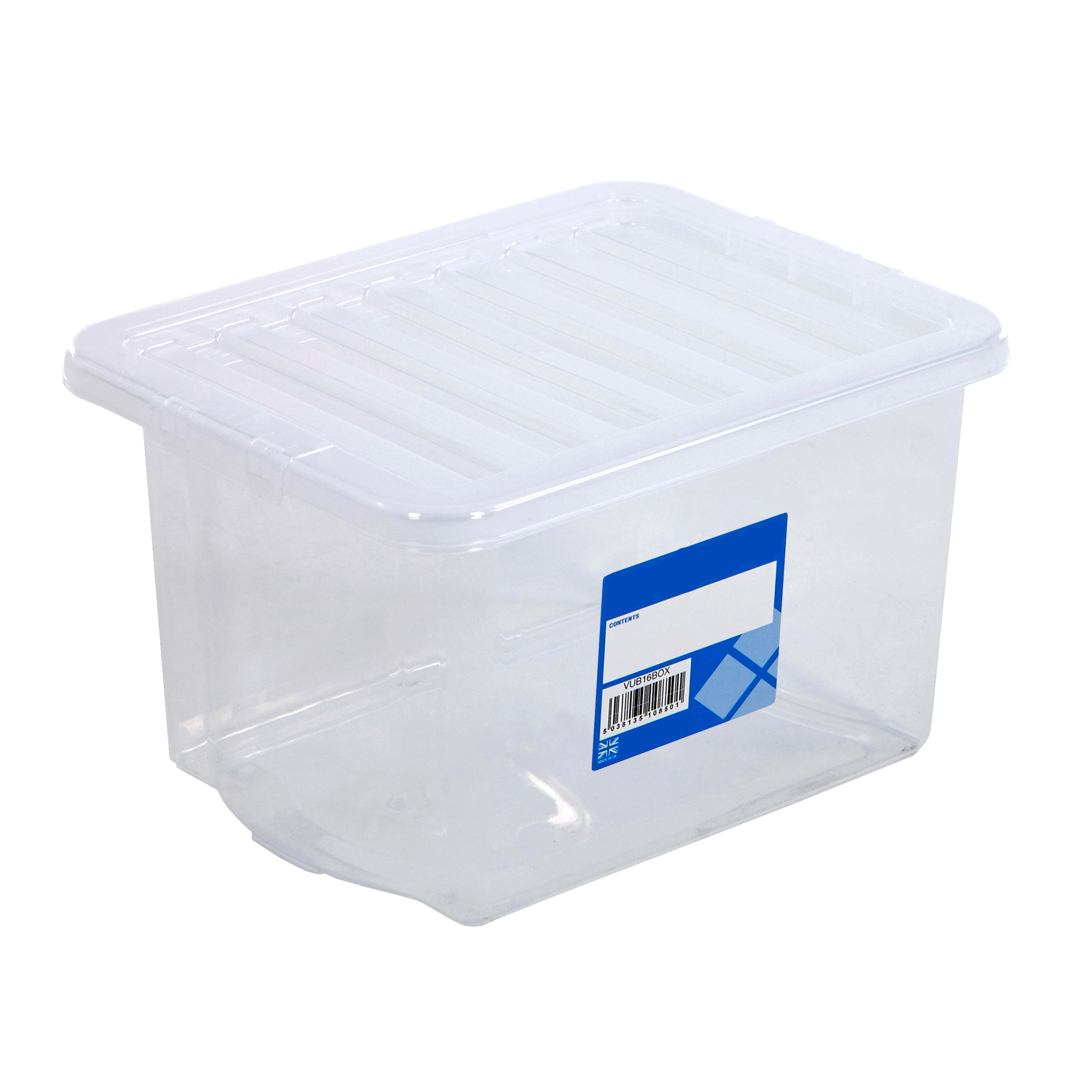 24 litre storage boxes clear plastic containers with lids multi pack home office ebay. Black Bedroom Furniture Sets. Home Design Ideas