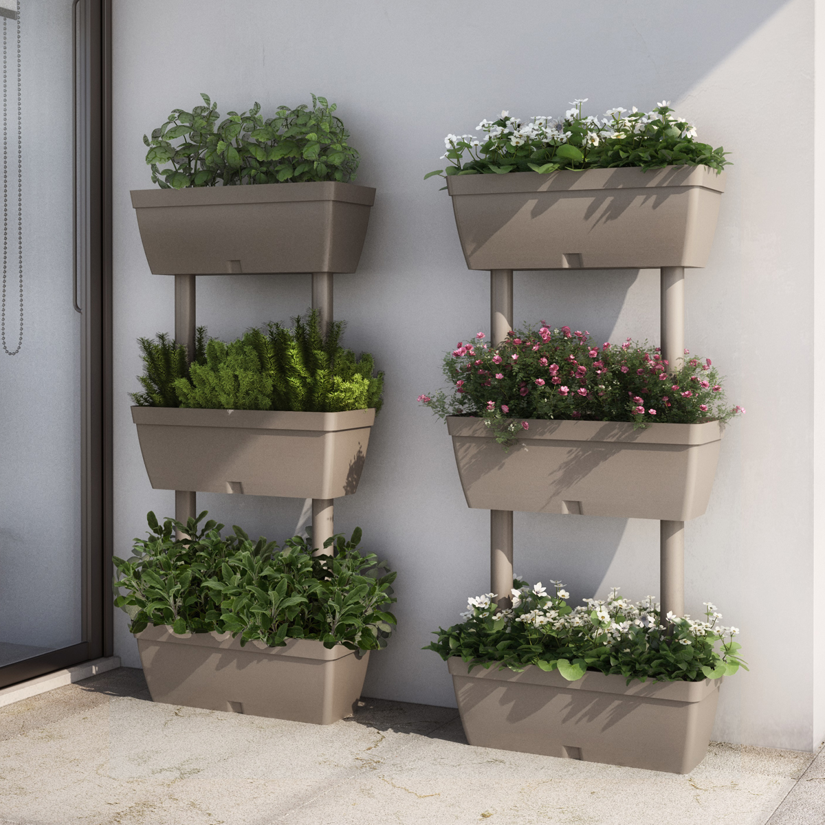 Plant trough 3 tier level stand balcony plant pot garden for Portavasi balcone