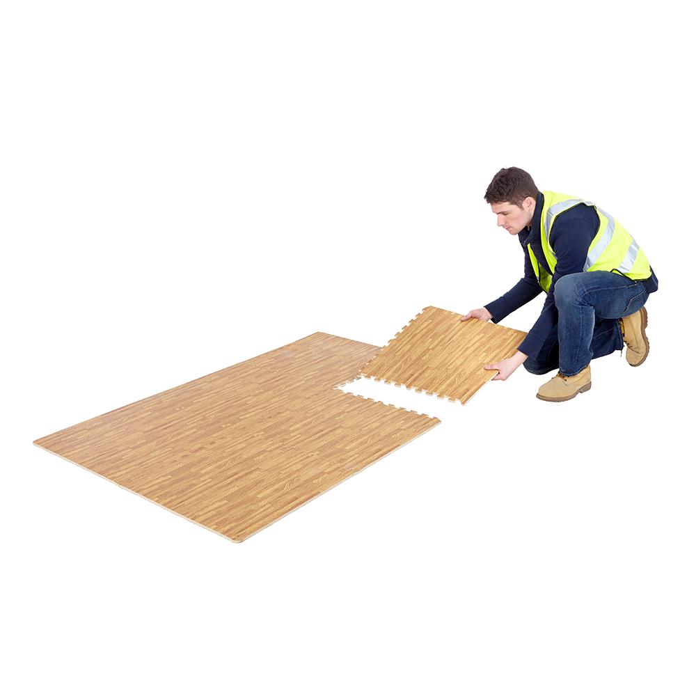 12 Interlocking Wood Effect Foam Floor Tiles Home Garage Kids Flooring