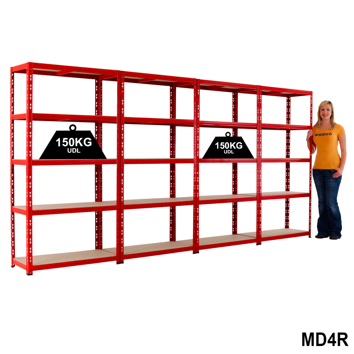 4 Red Shelving Bays 1780h x 900w x 400mmd - 150kg UDL Per Level BiGDUG