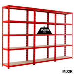 View Item 3 Red Shelving Bays Deal - 1780h x 900w x 400d mm