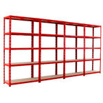 View Item 4 Red Shelving Bays Deal - 1780h x 900w x 400d mm
