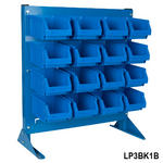 View Item Freestanding Louvre Panel Bin Kit with Blue Bins - 12 x B51 Parts Bins