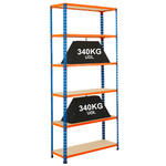 View Item Stockroom Shelving 1980h x 915w x 760d mm - 6 Levels - 340kg UDL - Blue & Orange