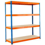View Item Warehouse Racking 1980h x 1830w x 760d mm - 4 Levels - 400kg UDL - Blue & Orange