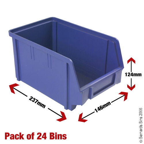 View Item 24 Plastic Bins - 124mm High x 146mm Wide x 237mm Deep