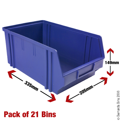 View Item 21 Plastic Bins - 149mm High x 205mm Wide x 335mm Deep