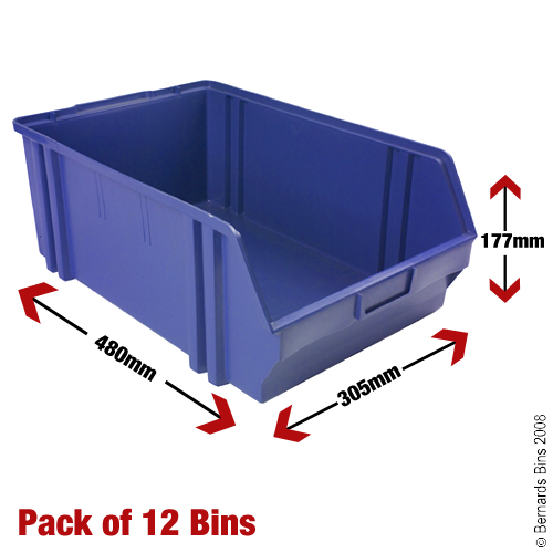 View Item 12 Plastic Bins - 177mm High x 305mm Wide x 480mm Deep