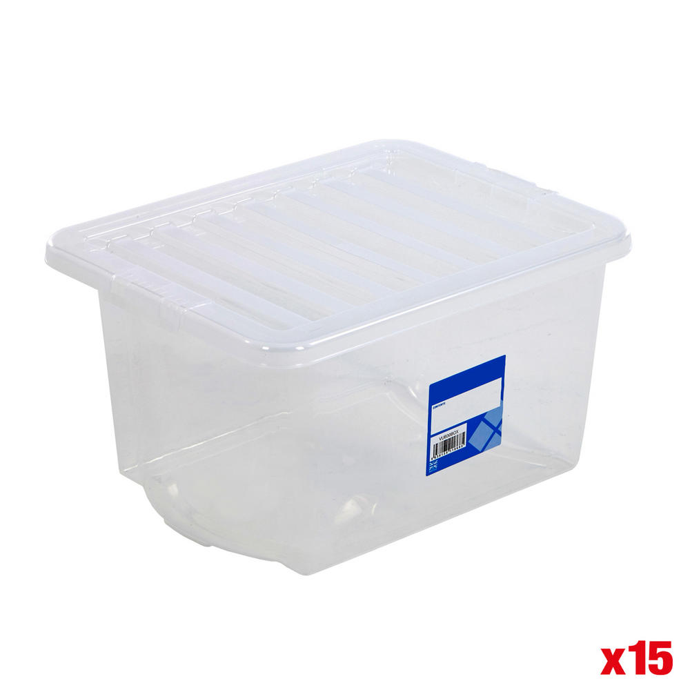 30 Litre Wham Economy Plastic Boxes (Pack Of 15)