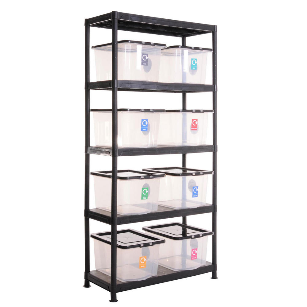 Plastic Recycling Shelving Kit With 8 Boxes