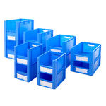 Open Front Blue Euro Stacking Containers Thumbnail 1